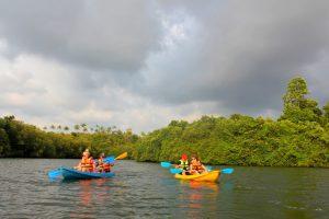 Padle Kayak på innsjø Sri Lanka