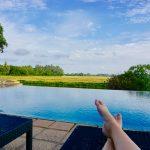 Nyter utsikten ved bassenget ved Kithala Resort ved Yala