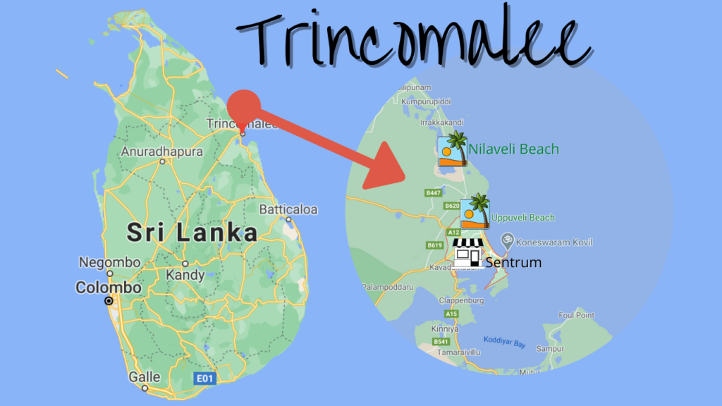 Kart over Trincomalee Sri Lanka